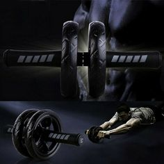 Industrious Shoulders Padded Handles Fitness Easy Glide Abdominal Double Exercise Strength Arms Back Transportable Roller Wheel Gym Workout Fitness & Body Building