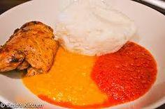 Colourful and creative - Gbegiri Soup (Beans Soup) with stew and Pounded yam.