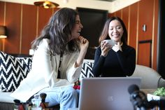 Leandra Medine and @michellephan on set reviewing @narscosmetics' Adventures in Beauty Vlogging   Man Repeller