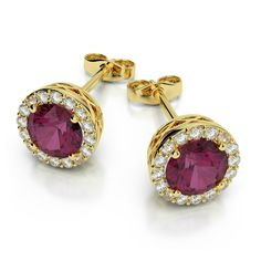 Rhodolite Garnet & Diamond Stud Earrings 14k Yellow Gold - Raven Fine Jewelers - Gemstone & Diamond Studs - Gifts for Women - Birthday Gifts for Her - Michael Raven Jewelry