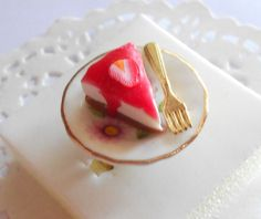 A slice of Strawberry Cheesecake by kimonoscuro on Etsy, $10.00