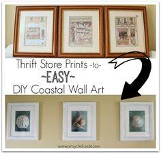 Thrift Store Prints to Easy DIY Coastal Wall Art - artsychicksrule.com #coastal #diy #thrifty