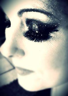 Smokey black glitter POW!!!! Ashlee Rice, Let's Face It makeup studio  www letsfaceitstudio.com