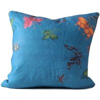 Colorful Butterflies on Blue Linen Pillow
