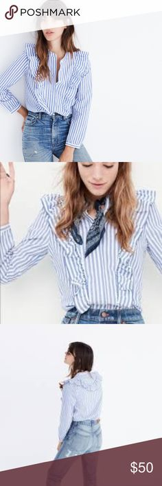 """NWT MADEWELL Striped Ruffle Front Blouse NWT. Dramatic ruffles give this striped top a fresh early '80s vibe. An unapologetically feminine button-down to wear with jeans, skirts, anything. 25"""" length, 21"""" bust, 23.75"""" sleeve. Thanks for shopping my closet! Madewell Tops Blouses"""