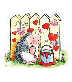 ☀ Penny Black, Inc. ☀ Rubber Stamps, Stickers ☀ Penny Black, Inc. Hedgehog Art, Cute Hedgehog, Hedgehog Illustration, Cute Illustration, Love Valentines, Valentine Day Cards, Cute Images, Cute Pictures, Love Graffiti