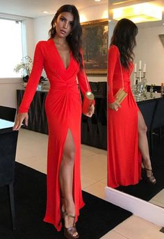Long Prom Dress,Red Evening Gowns,Long Sleeves Prom Dresses, V Neck Prom Dresses on Storenvy Evening Party Gowns, Formal Evening Dresses, Formal Gowns, Formal Prom, Prom Dresses Long With Sleeves, Prom Dresses With Sleeves, Dress Long, Red Long Sleeve Dress, Femmes Les Plus Sexy