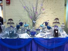 Navy Blue And Silver Candy Buffet Gold Candy Buffet, Lolly Buffet, Candy Buffet Tables, Candy Table, Buffet Ideas, Dessert Tables, Chocolate Fountain Hire, Chocolate Fountains, Royal Blue And Gold