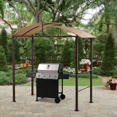 Grill Gazebo Barbecue Shelter Hardtop BBQ Canopy Shade Hard Top w Steel Stand. This Curved Hardtop Grill Gazebo is a great choice for friends gathering together for grilling in your backyard, it's got quick installation and is lightweight and durable. Grill Gazebo, Curved Pergola, Metal Pergola, Pergola Plans, Pergola Kits, Pergola Lighting, Pergola Ideas, Patio Ideas, Gardens