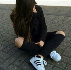 Girl with adidas superstar tumblr