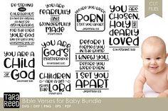 Bible Verses for Baby Bundle Tara Reed Designs Crafters SVGs Baptism Verses, Nursery Bible Verses, Bible Verses Quotes, Bible Verse For Baby, Christian Baptism, Daddy, Scrapbook Quotes, Baby Boy Scrapbook, Baby Dedication