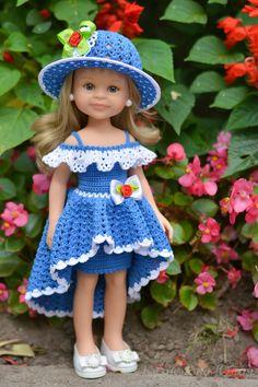 Юлия Кузнецова Crochet Doll Dress, Crochet Doll Clothes, Crochet Doll Pattern, Girl Doll Clothes, Barbie Clothes, Girl Dolls, American Girl Crochet, Doll Dress Patterns, Amigurumi Doll