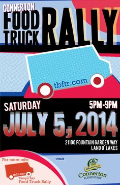 Saturday, July 5th we'll be in Connerton. Join us for food trucks and fun! #foodtrucks #foodtruckrally #tampabay
