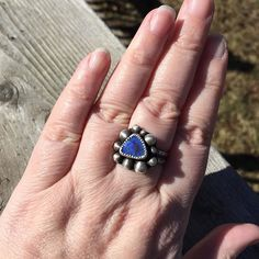 Its still chilly but the sun is shining so I got a nice pic of this deep blue cultured opal ring.