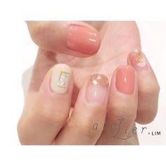 デザイン:西山 @nishiyama_nail . 《サーモンピンク》 . #atelierlim #nail #eyelash #LIM #西山#アトリエ #アトリエリム #リム #ショートネイル #ネイル #ジェルネイル #biiq #osaka#西山nail