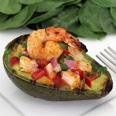 Grilled Avocado Shrimp Boat | Paleo Newbie