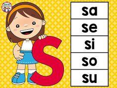 carteles-silabas Interactive Activities, Montessori Activities, Alphabet Activities, Book Activities, Preschool Activities, Abc Preschool, Birthday Charts, Bilingual Classroom, Phonics Worksheets