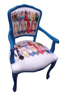 Easy enough to find old chairs at garage/estate sales.  Re-purpose them by giving the wood a pop of color and reupholster with some fun, funky fabric.