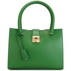 Salvatore Ferragamo Juliette Tote (€1.255) ❤ liked on Polyvore featuring bags, handbags, tote bags, green, leather handbag tote, leather tote purse, leather tote bags, leather tote and green tote bag