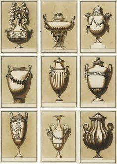 Ensemble de dix dessins de vases d'ornement, école italienne, vers 1780   Lot   Sotheby's