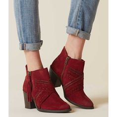 Naughty Monkey Noah Ankle Boot - Red US 10 ($100) ❤ liked on Polyvore featuring shoes, boots, ankle booties, red, naughty monkey boots, short leather boots, bootie boots, leather bootie and red booties