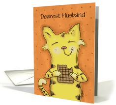 Customizable Anniversary for Husband-Cute Yellow Tabby Cat Eats Waffle card