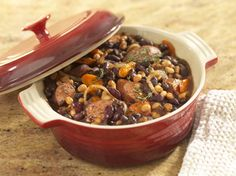 Quick and Easy Cassoulet (bean and turkey kielbasa). Delicious. Low fat. High fiber!