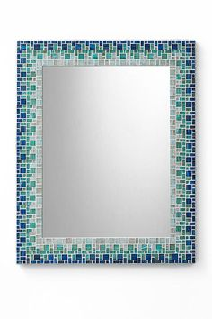 Mosaic Wall Mirror Sky Blue Teal Light Blue by opusmosaics Mosaic Bathroom, Mirror Mosaic, Diy Mirror, Glass Mosaic Tiles, Mosaic Wall, Wall Mirror, Bathroom Wall, Master Bathroom, Stained Glass Birds