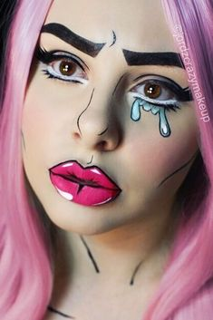 Halloween Make-up Ideen sind sehr vielseitig und manchmal . - Halloween makeup ideas are extremely versatile and sometimes it becomes difficul… Halloween Make - Pop Art Makeup, Crazy Makeup, Buy Makeup, Cheap Makeup, Makeup 2018, Doll Makeup, Pink Makeup, Eyebrow Makeup, Eyeliner
