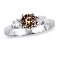 3/4 CT. T.W. Enhanced Fancy Champagne and White Diamond Three Stone Ring in 14K White Gold - Zales