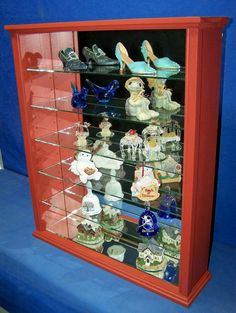 Wood Glass Wall Curio Cabinet Shelf or Tabletop Display Antique Red Firemans Gift Wall Curio Cabinet, Curio Cabinets, Table Top Display, Display Shelves, Wood Glass, Custom Woodworking, Red Wood, Antiques, Tabletop