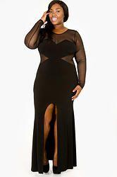 Black Mesh High Slit Maxi Dress (Plus Size)