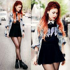 Jean jacket, black dress, white collar shirt, creepers