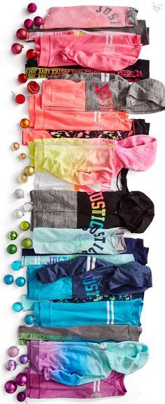 A vibrant rainbow of activewear styles.