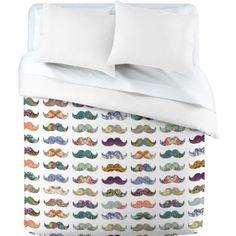 Amazon.com: DENY Designs Bianca Green Mustache Mania Duvet Cover, Twin: Home & Kitchen