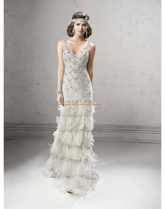 Robe de mariée Evasee Tulle Traine Courte Luxueux Col En V 2015
