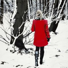 Gerard Burns Red Coat in Winter Signed Limited Edition Print Burns, Patriotic Pictures, Glasgow School Of Art, Winter Scenes, Limited Edition Prints, Colorful Pictures, High Neck Dress, Studio, Coat