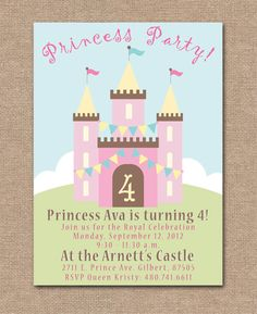 Princess castle sample invitation mackenzie party pinterest princess birthday party invitation printable photo birthday invitation princess castle 1400 stopboris Image collections