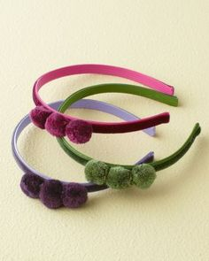 Three-Poms Headband by Andrea's Beau