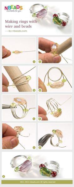 rendendo anelli con filo e perline