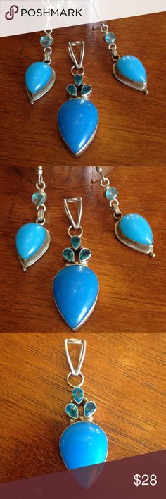 Blue chalcedony and turquoise set Huge pieces in this beautiful set. I think the stone is blue chalcedony. It's all sterling silver. Earrings are natural blue topaz. Huge bake on the pendant. Jewelry Earrings