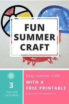 Perfect summer craft to make with your 3 year old. FREE Printable includes 3 templates, directions, and a shopping list. Indoor Activities For Kids, Toddler Activities, Fun Activities, Toddler Preschool, Preschool Ideas, Craft Ideas, Summer Crafts For Kids, Easy Art Projects, Crafts To Make