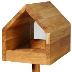 Eichenholz-Vogelhaus mit Satteldach, Futtertablett, Silo, inkl. Ständer - Luxus-Vogelhaus.de