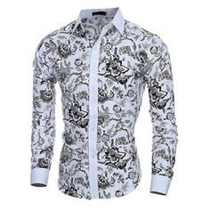 Cheap shirt hollister, Buy Quality shirt brazil directly from China shirt sample Suppliers: Elegant Noble Floral Prints Men Shirt Fashion Mens Shirts Long sleeve Slim Fit Casual Social Camisas Masculinas Chemise homme Long Sleeve Shirt Dress, Shirt Sleeves, Long Sleeve Shirts, Dress Shirts, Full Sleeves, Camisa Social Florida, Style Gentleman, Chemise Fashion, Tops Vintage