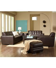 Sofa and two chairs. I love the clean lines, and I LOVE the button tufting. Living Room Sofa, Living Room Furniture, Metal Stars, My Furniture, Leather Sofa, Clean Lines, My House, Chairs