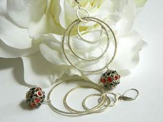 Large Silver Hoop Earrings, Red Earrings, Long Dangle Earrings, Black Earrings, Crystal Earrings, Leverback Earrings, Handcrafted Jewelry #handmade #jewelry