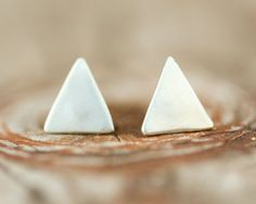 Triangle Studs - Stud Earrings - Recycled Non Conflict Sterling Silver - Chic - Simple - Boho - Spring Fashion