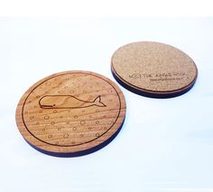 Set of 4 whale coasters  wooden cherry coasters by thejunglehook
