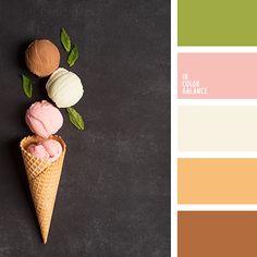 кремовый цвет, нежный клубничный цвет, нежный коричневый, нежный розовый, нежный салатовый, теплые оттенки пастельных тонов, цвет вафель, цвет клубничного мороженного, цвет корицы, цвет листьев мяты, цвет мороженного, цвет шоколадного