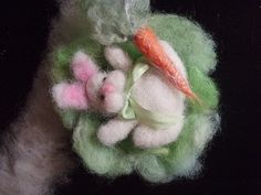 Needle felted bunny, carrot, cabbage...I took raw wool, cleaned, dyed and needle felted into this little creation